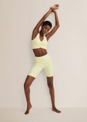 Спортивный бюстгальтер с перекрещенной спинкой - Lindsay Mango. Цвет: пастельно-желтый