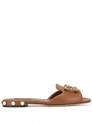 Сандалии DG Amore Dolce & Gabbana. Цвет: коричневый