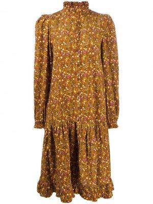 Платье миди на пуговицах byTiMo. Цвет: коричневый