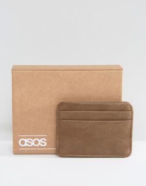 Серо-коричневая визитница из искусственной кожи ASOS. Цвет: серый
