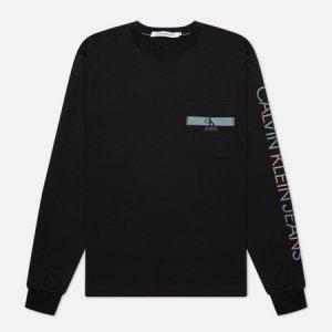 Мужской лонгслив LS Iridescent Pocket Calvin Klein Jeans. Цвет: чёрный