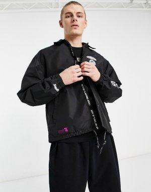 Черная спортивная куртка с принтом на рукаве AAPE By A Bathing Ape-Черный цвет APE®