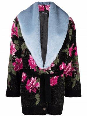 Пальто с поясом и цветочным принтом Blumarine. Цвет: черный