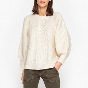 Пуловер с круглым вырезом из оригинального тонкого трикотажа FLIM BA&SH. Цвет: экрю