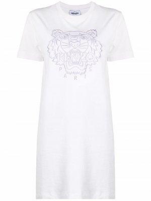 Платье с короткими рукавами и вышивкой Kenzo. Цвет: белый