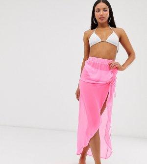 Неоново-розовое пляжное парео со сборками ASOS DESIGN Tall-Розовый Tall