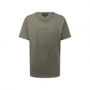 Хлопковая футболка Emporio Armani. Цвет: хаки