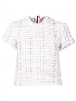 Твидовая футболка с необработанными краями Thom Browne. Цвет: белый