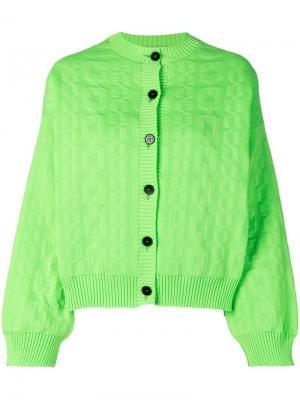 Куртка-бомбер оверсайз с тиснением MSGM. Цвет: зеленый