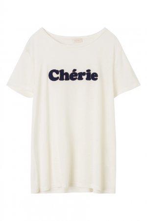 Белая футболка с надписью Chéri Gerard Darel. Цвет: белый
