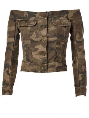 Джинсовая куртка с открытыми плечами Faith Connexion. Цвет: зелёный