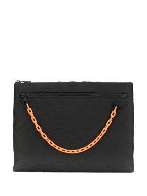 Клатч pre-owned с тисненой монограммой Louis Vuitton. Цвет: черный