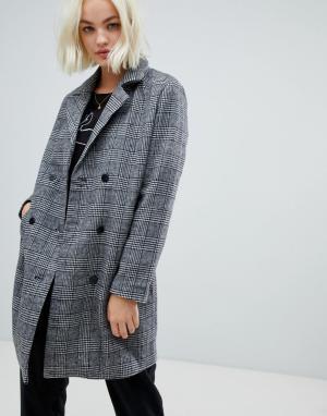 Строгое пальто в клетку с добавлением шерсти Sanna Blend She. Цвет: серый