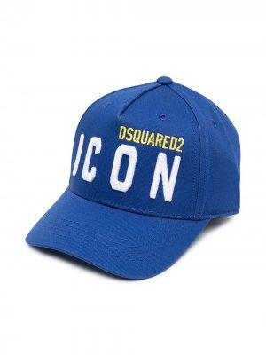 Шестипанельная кепка с вышитым логотипом Dsquared2 Kids. Цвет: синий