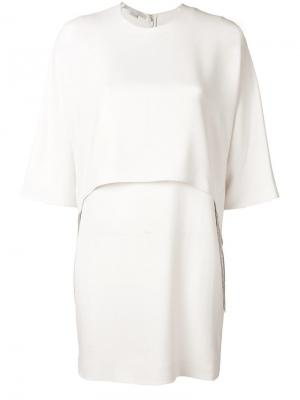 Платье с отделкой цепочками Stella McCartney. Цвет: бежевый