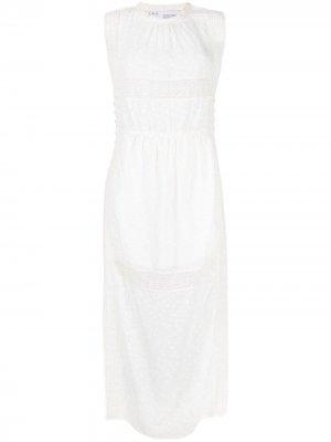 Платье миди с кружевной вышивкой IRO. Цвет: белый