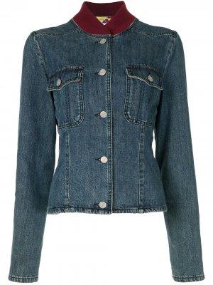 Джинсовая куртка 2000-х годов с воротником в рубчик Chanel Pre-Owned. Цвет: синий