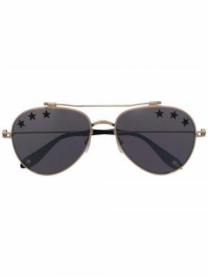 Солнцезащитные очки-авиаторы с принтом Givenchy Eyewear. Цвет: золотистый