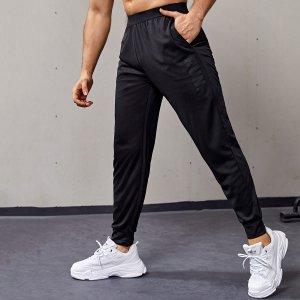 Мужской Брюки с карманом спортивный SHEIN. Цвет: чёрный