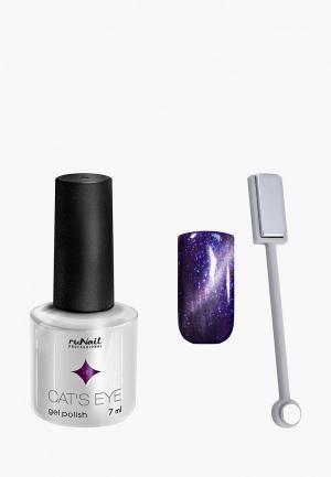 Набор для ухода за ногтями Runail Professional магнит и Гель-лак Cat's eye серебристый блик, цвет: Ангорская кошка. Цвет: фиолетовый