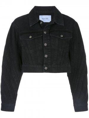 Укороченная джинсовая куртка Mugler. Цвет: черный