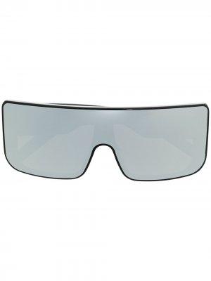 Массивные солнцезащитные очки с зеркальными линзами Rick Owens. Цвет: черный