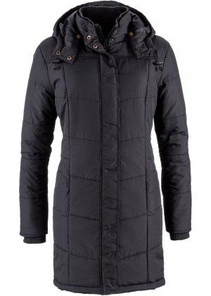 Утепленная стеганая куртка bonprix. Цвет: черный