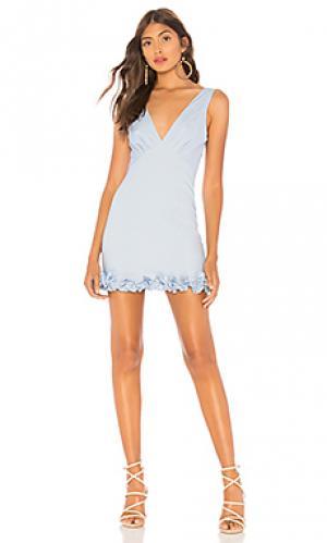 Мини платье с рюшами на рукавах dolly MAJORELLE. Цвет: нежно-голубой