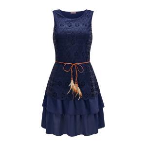 Платье-миди из двух материалов без рукавов JOE BROWNS. Цвет: синий