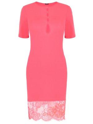 Сорочка с кружевом RITRATTI. Цвет: розовый