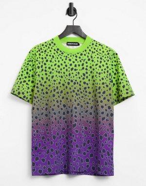 Яркая зеленая oversized-футболка с эффектом деграде и принтом пятен гепарда House Of Holland-Зеленый цвет Holland