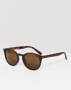 Круглые солнцезащитные очки в черепаховой оправе Selected Homme. Цвет: коричневый