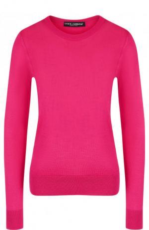 Однотонный шелковый пуловер с круглым вырезом Dolce & Gabbana. Цвет: фуксия