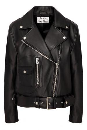 Черная кожаная куртка косого кроя Acne Studios. Цвет: черный