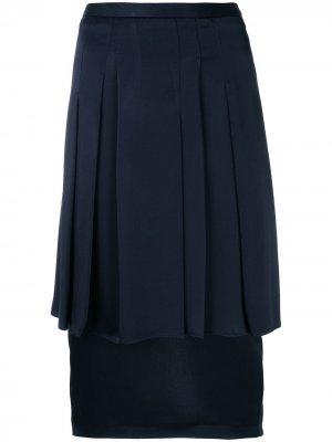 Плиссированная юбка-карандаш Chalayan. Цвет: синий