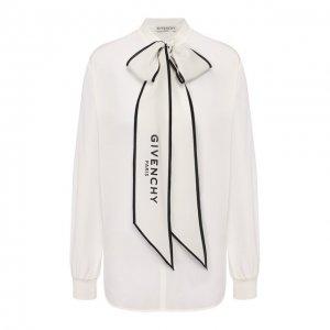 Шелковая блузка Givenchy. Цвет: белый