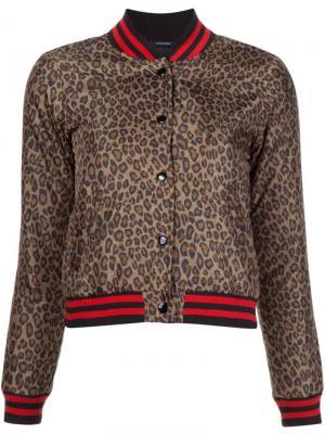Куртка-бомбер Roadie с леопардовым принтом R13. Цвет: коричневый