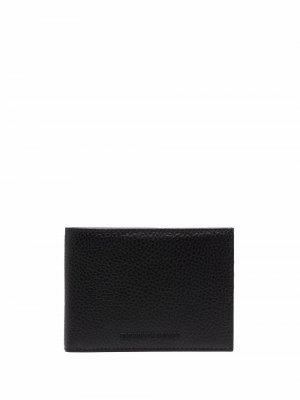 Бумажник из зернистой кожи Emporio Armani. Цвет: черный