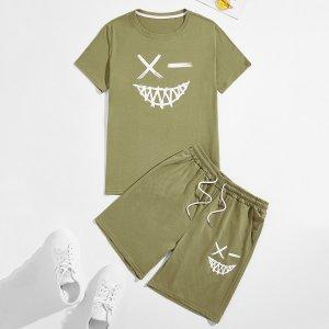 Мужская футболка и шорты с графическим принтом SHEIN. Цвет: оливково-зеленый