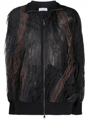 Куртка-бомбер с пайетками Brunello Cucinelli. Цвет: черный