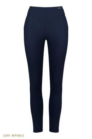 Синие укороченные брюки с фигурной кокеткой LOVE REPUBLIC