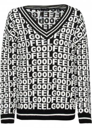 Вязаный пуловер с надписями bonprix. Цвет: черный