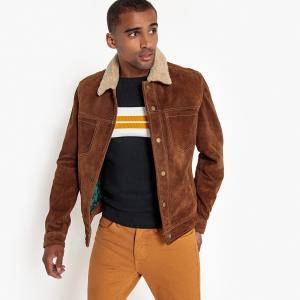 Куртка кожаная с застежкой на кнопки LA REDOUTE COLLECTIONS. Цвет: желто-каштановый