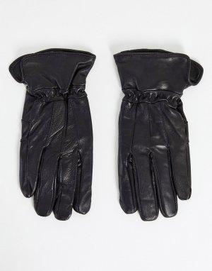 Черные кожаные перчатки в стиле пэчворк -Черный цвет Boardmans