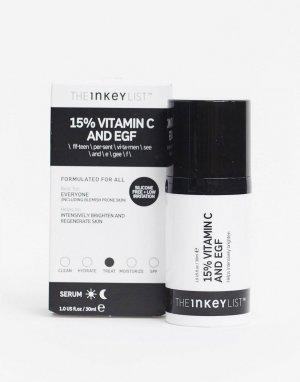 Осветляющая сыворотка с витамином 15% и эпидермальным фактором роста INKEY List, 30 мл-Бесцветный THE LIST