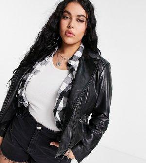 Кожаная байкерская куртка -Черный цвет Barneys Originals Plus
