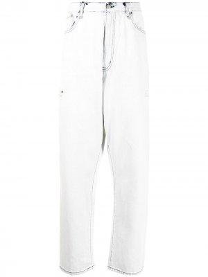 Широкие джинсы с контрастной строчкой izzue. Цвет: синий