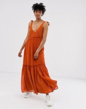 Платье миди Lona-Оранжевый Gestuz