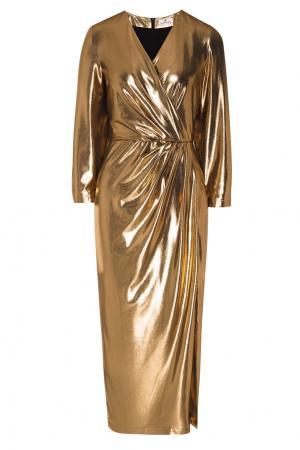 Золотистое платье с драпировкой LAROOM. Цвет: золотой