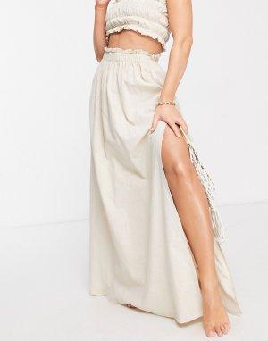 Светло-бежевая пляжная юбка макси от комплекта с оборками -Белый ASOS DESIGN